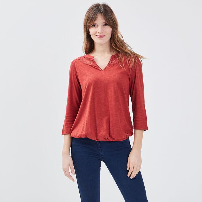 T-shirt manches 3/4 rouge foncé femme