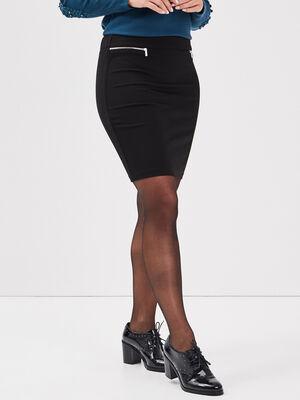 Jupe ajustee details zippes noir femme