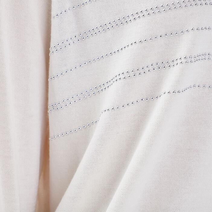 Gilet manches longues boutonné ecru femme