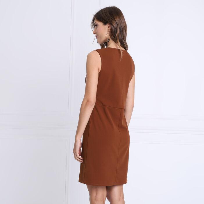 Robe droite détail boucle marron femme