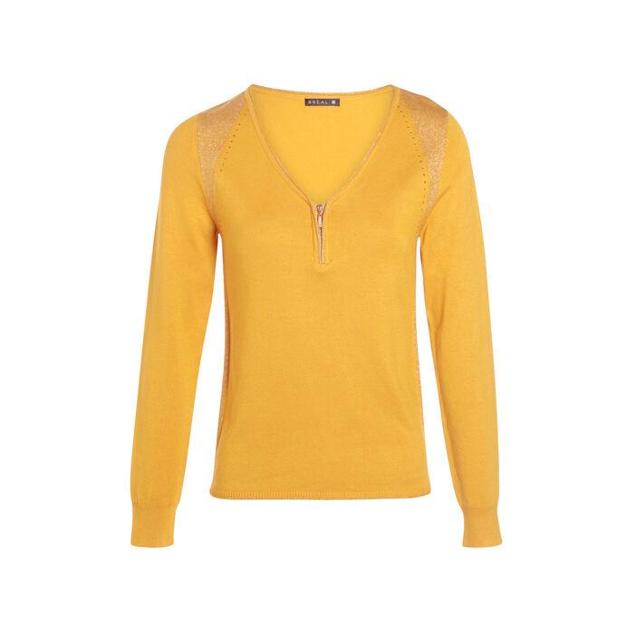 Pull manches longues col en V jaune or femme