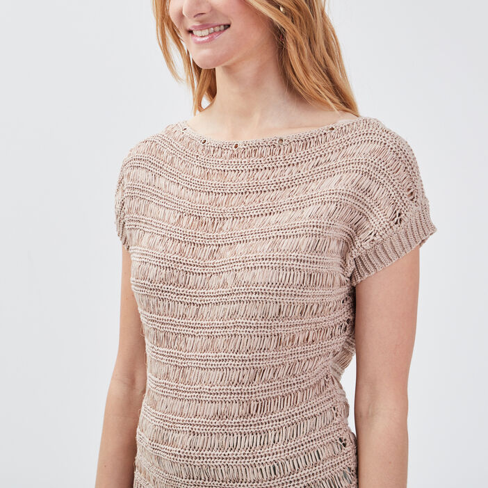 Pull manches 3/4 beige femme