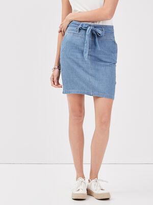Jupe droite ceinturee en jean denim double stone femme