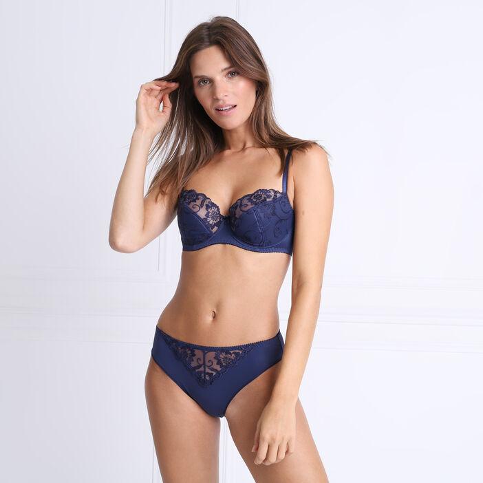 Soutien-gorge corbeille en dentelle bleu marine femme