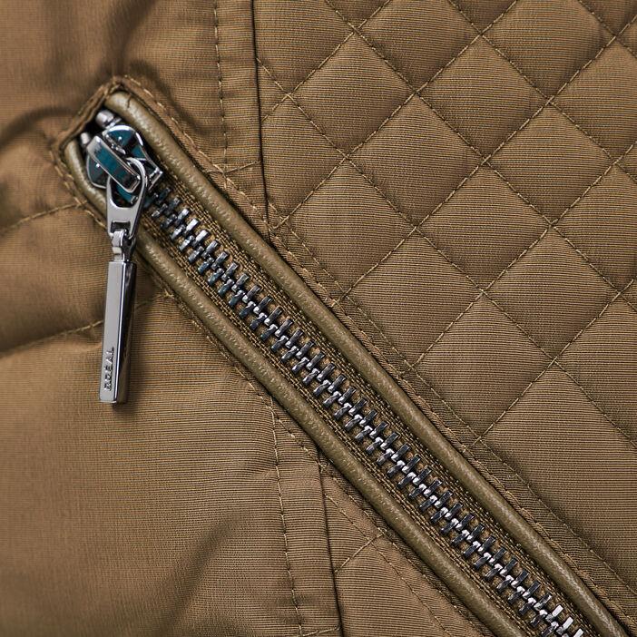 Doudoune droite à capuche vert kaki femme