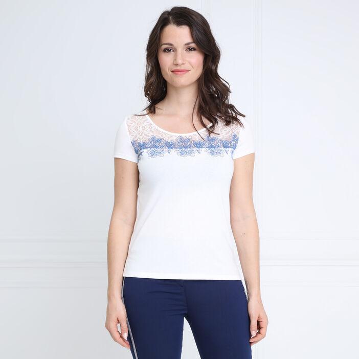 T-shirt manches courtes lacet ecru femme