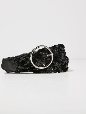 Ceinture tressee noir femme