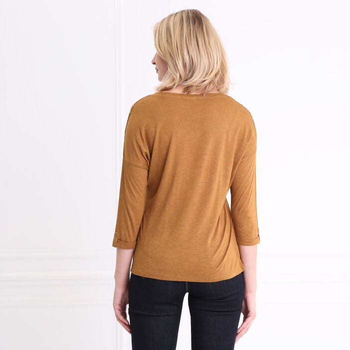 T-shirt col V manches 3/4 à motifs marron foncé femme