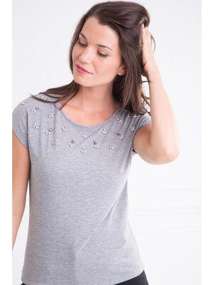 T shirt col rond chine bijoux gris clair femme