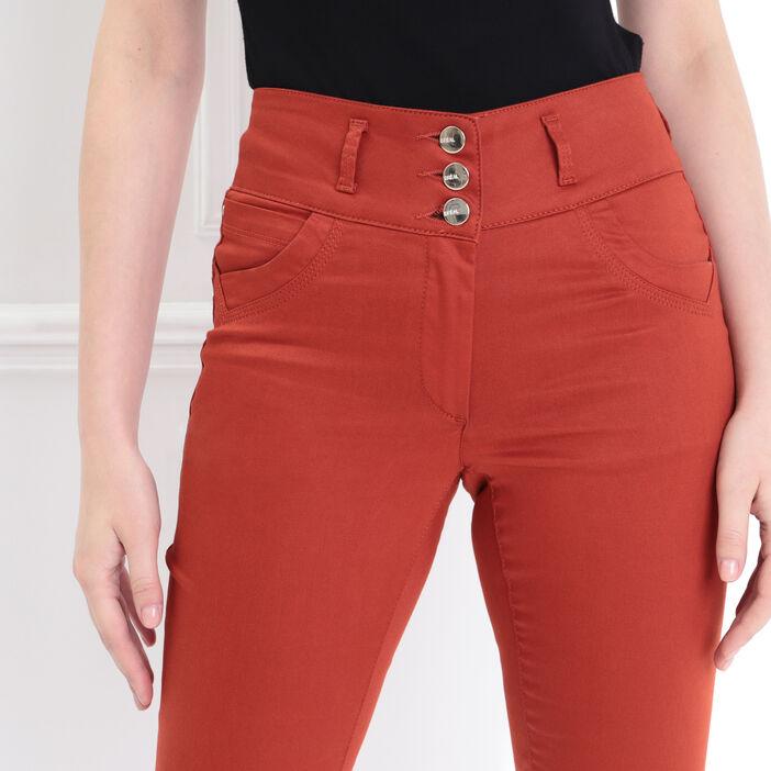 Pantalon enduit ajusté 3 boutons orange foncé femme