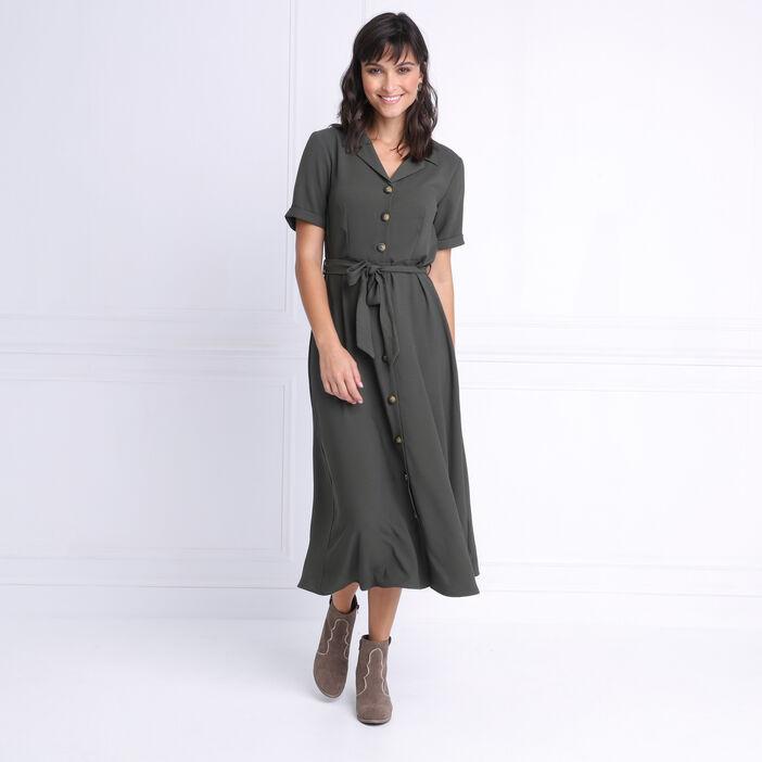 Robe chemise longue à ceinture vert kaki femme