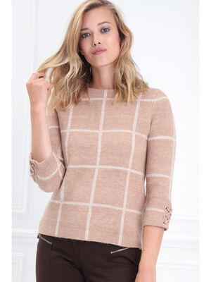 Pull manches 34 col rond marron clair femme