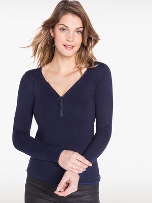 Pull col en V zippe orne de strass bleu femme