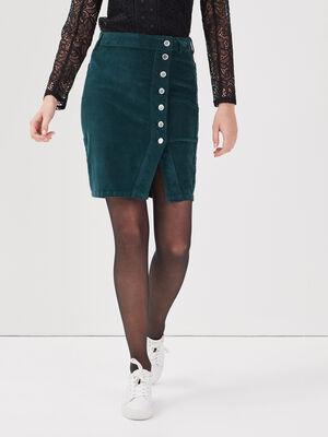 Jupe portefeuille velours vert fonce femme