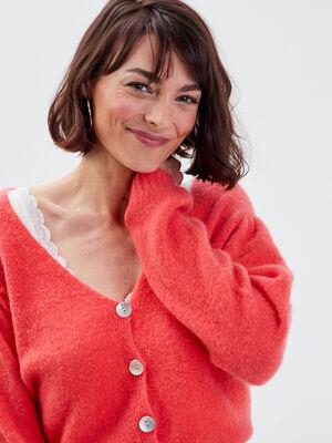 Gilet manches longues boutonne rose femme