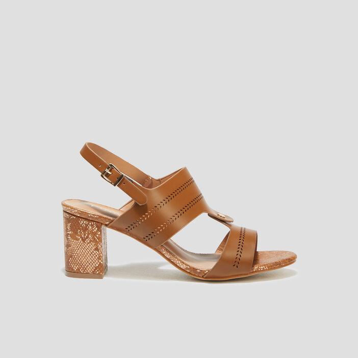 Sandales à talons orange foncé femme