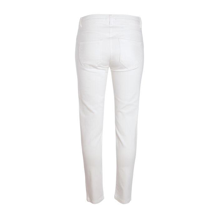 Pantalon slim taille haute ecru femme