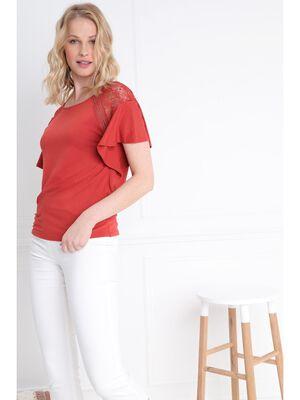 T shirt manches courte avec dentelle orange fonce femme