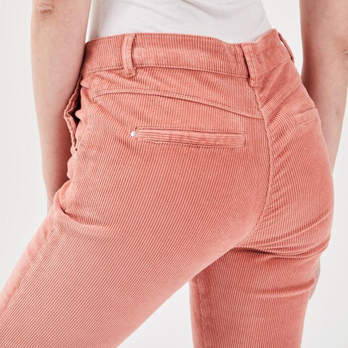Pantalon chino taille baculée vieux rose femme