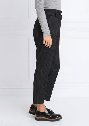 Pantalon carotte taille haute noir femme