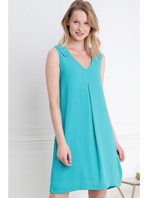 Robe courte fluide unie decoupe dos vert turquoise femme