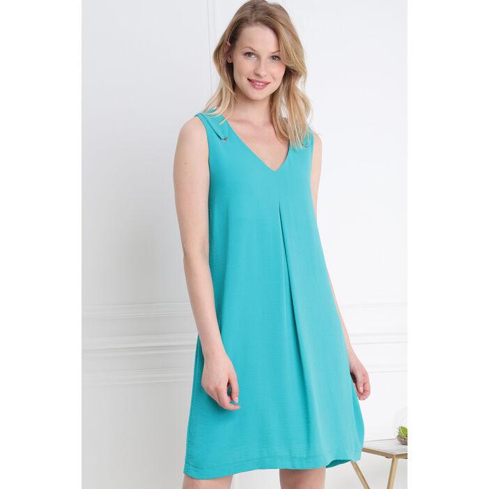 Robe courte fluide unie découpe dos vert turquoise femme