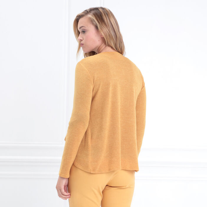 Gilet manches longues jaune or femme