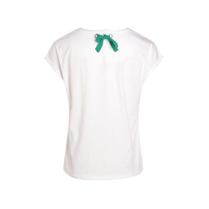 T-shirt manches courtes nœud blanc femme