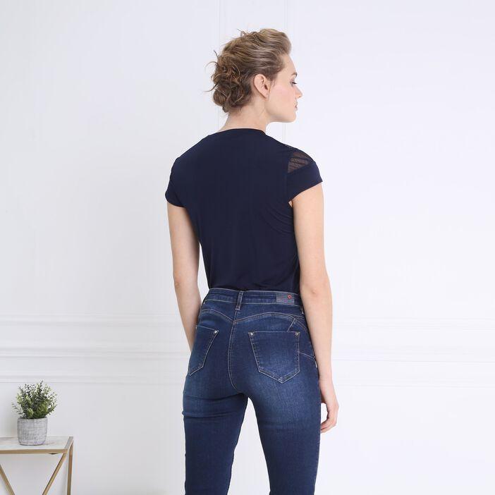 T-shirt body résille épaules bleu foncé femme