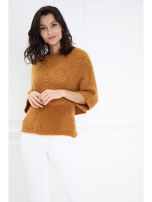 Pull shaggy cropped bi matiere jaune or femme