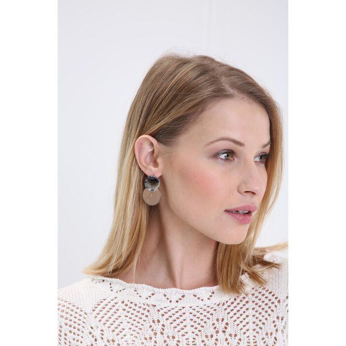 Boucles d'oreilles bimatière couleur argent femme