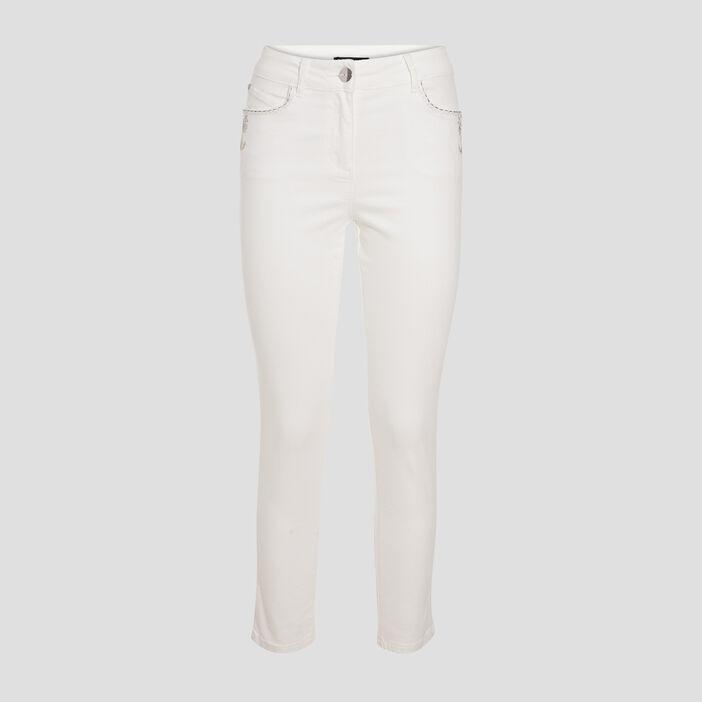 Pantalon ajusté détails bijoux ecru femme