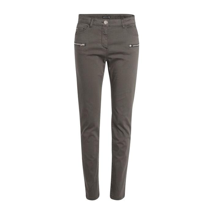 Pantalon ajusté détails zippés vert kaki femme