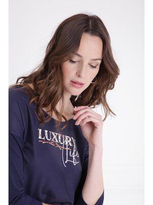 T shirt manches 34 message bleu fonce femme