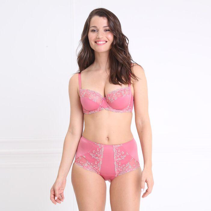 Soutien-gorge satiné et brodé rose femme