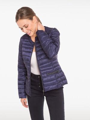 Doudoune cintree poches zippees bleu fonce femme