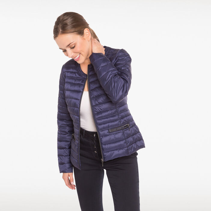 Doudoune cintrée poches zippées bleu foncé femme