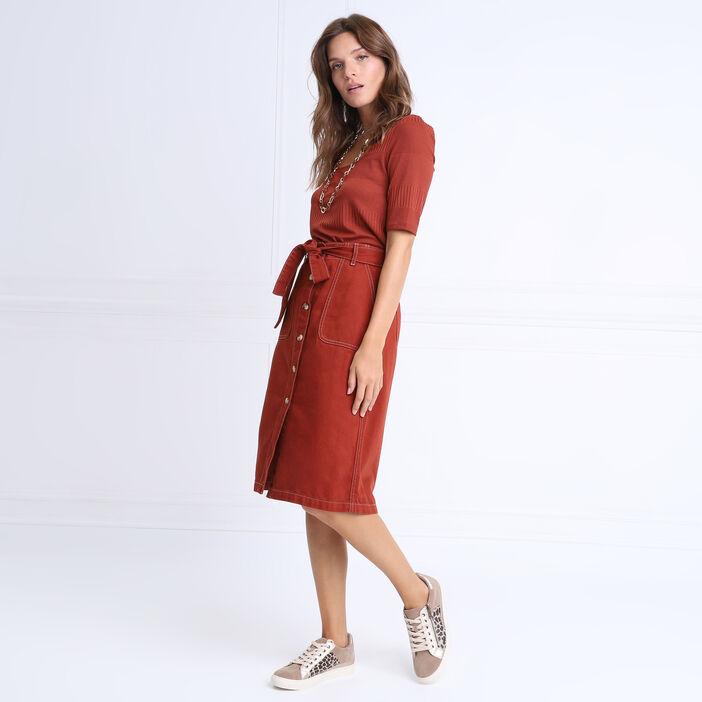 Jupe droite boutonnée marron cognac femme
