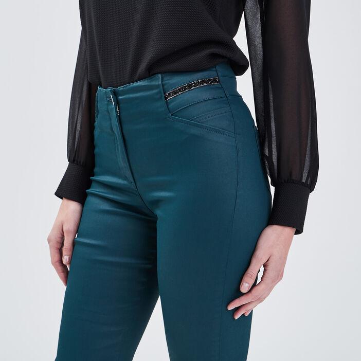 Pantalon ajusté détails bijoux vert canard femme