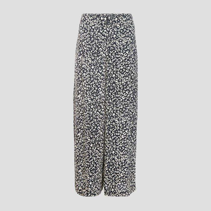 Pantalon flou large 7/8ème noir femme