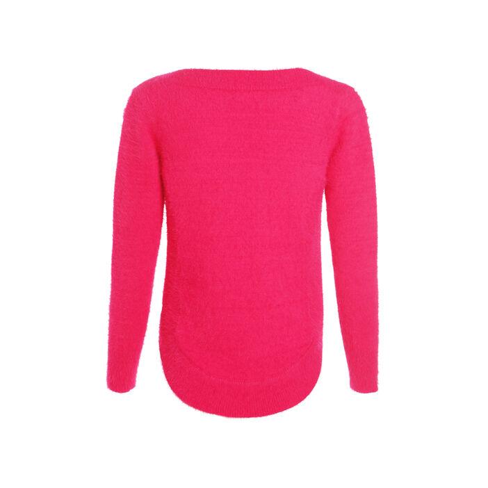 Pull tricot uni rose femme