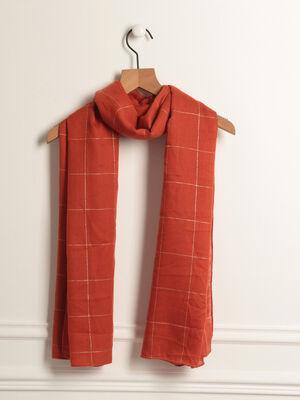 Foulard imprime carreau rouge femme
