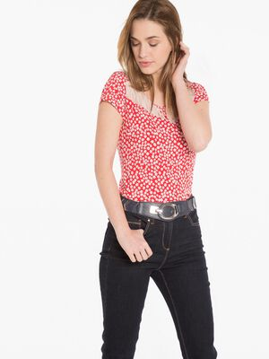 T shirt avec dentelle rouge fonce femme