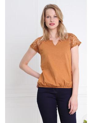 T shirt manches courtes dentelle manches camel femme