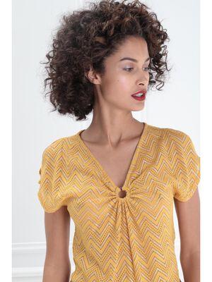 T shirt manches courtes anneau jaune moutarde femme