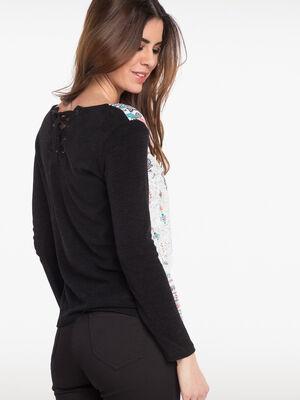 T shirt avec detail dans le dos noir femme