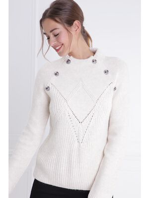 Pull col montant maille ajouree ecru femme
