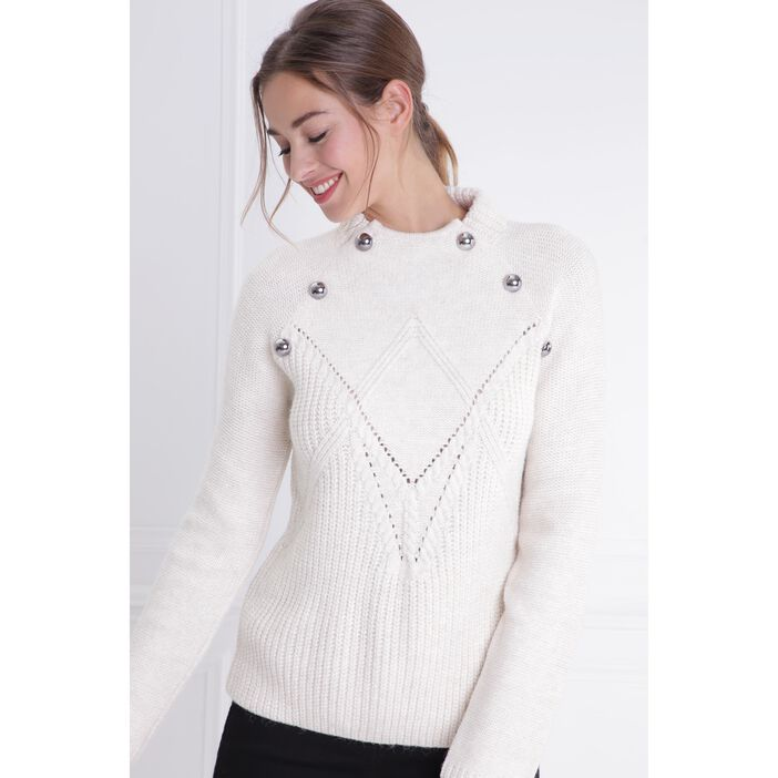 Pull col montant maille ajourée ecru femme