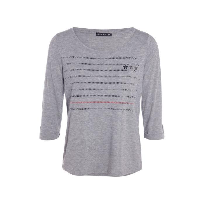 T-shirt col rond rayures strassées gris clair femme