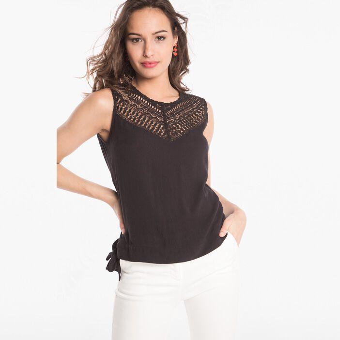Chemise en macramé dos boutonné noir femme